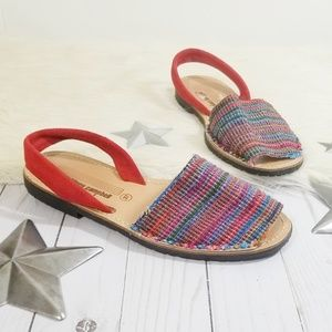 Jeffrey Campbell sandals rainbow woven tapestry 37